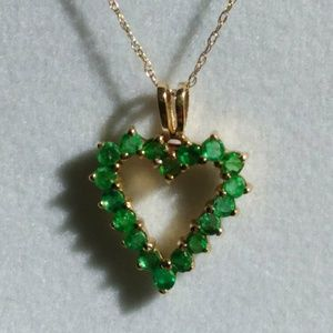 14KT Gold & Emerald Heart Necklace